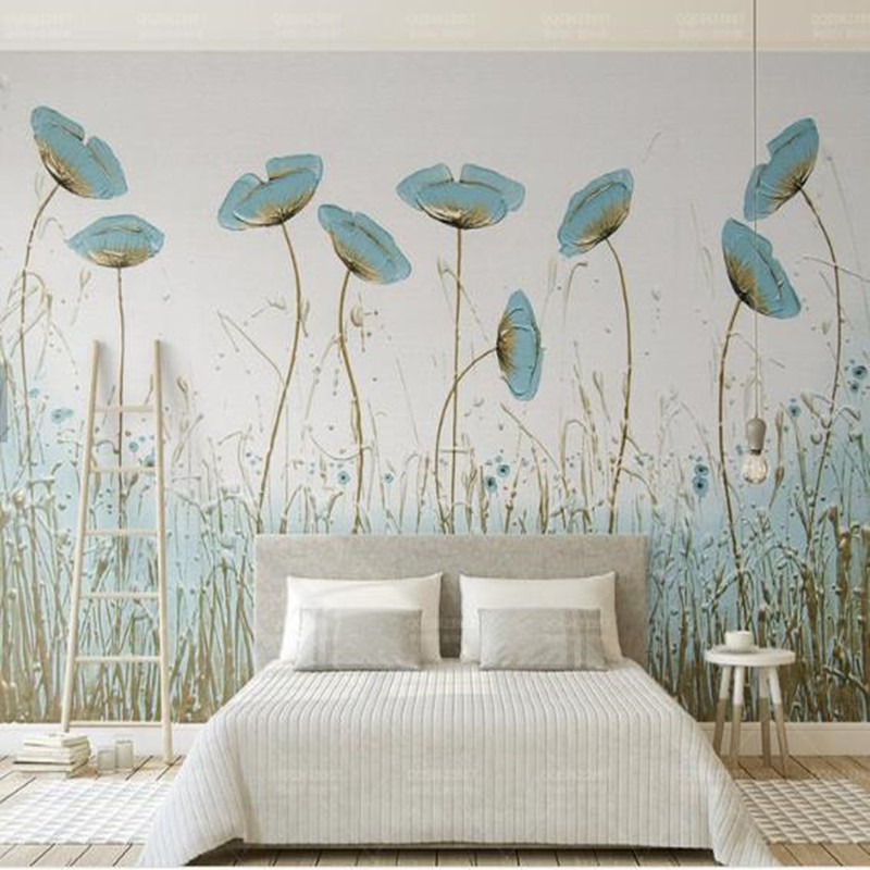 Hand painted Leaf Photo Wallpapers for Walls 3D Wallpapers for Living Room Bedroom Murals Wall Paper Home Decor Nature Landscape in Wallpapers from Home Improvement