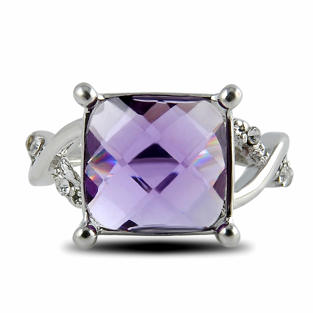 Hot 1pc New Silver Ring Purple Large Zircon Square Plated Crystal Engagement Wedding 3 Size 2 color