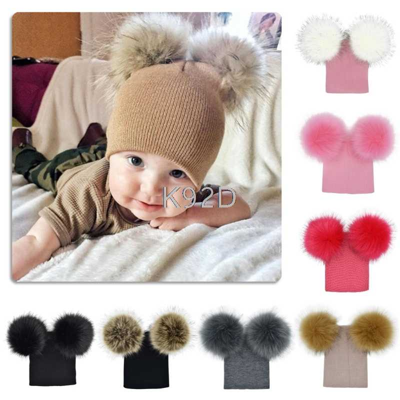 Kids Warm Winter Caps Double Fur Pom Pom Beanie Wool Knitted Hat Baby Boys Girls Two Raccoon Balls Cap J09