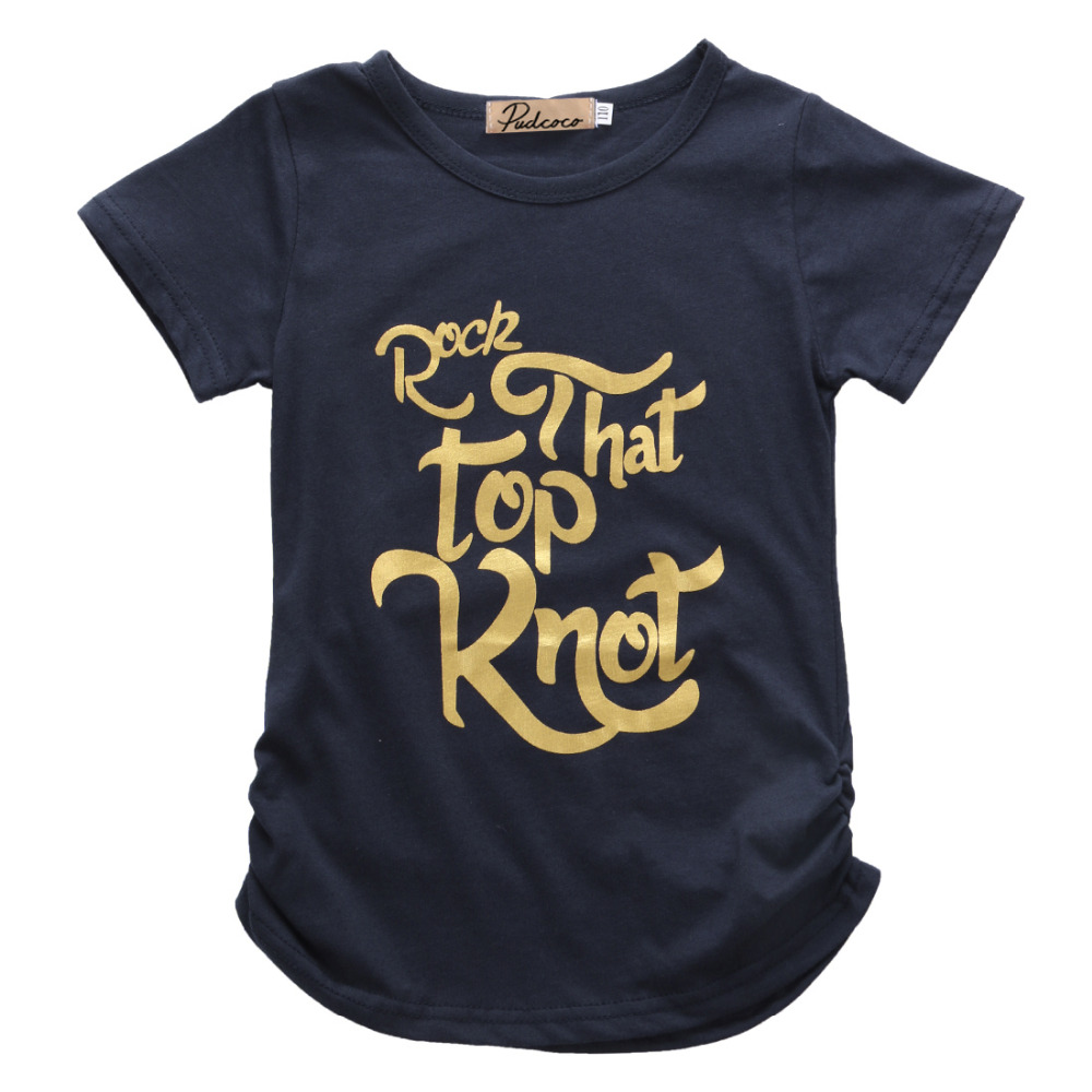 Summer tops 2016 wholesale kids baby girls gold letter tee for Wholesale children s t shirts