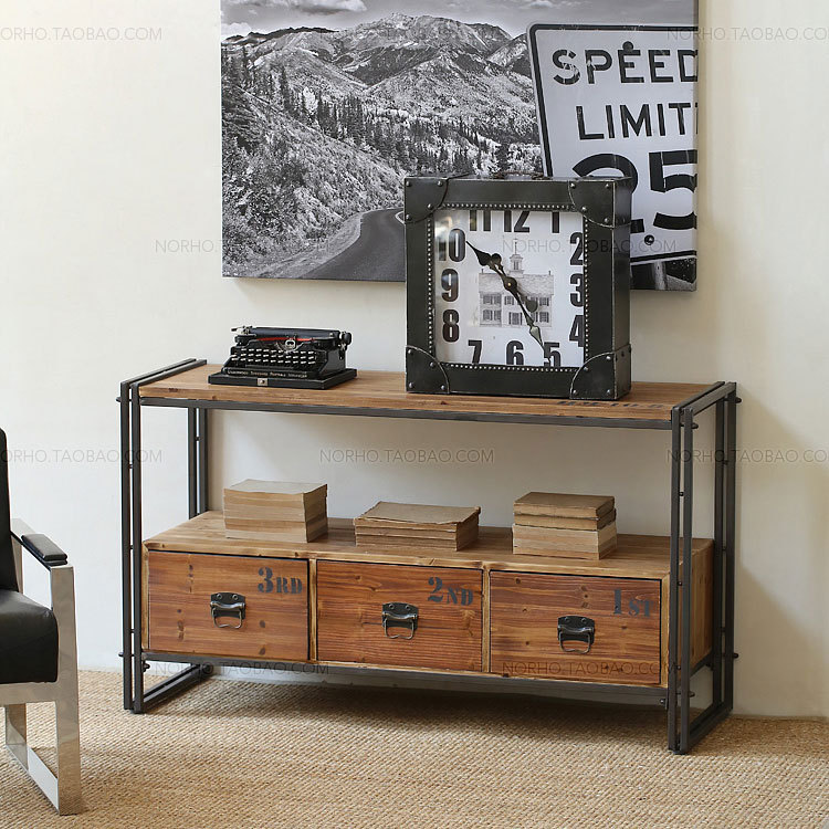 American country wrought iron console table Drawers