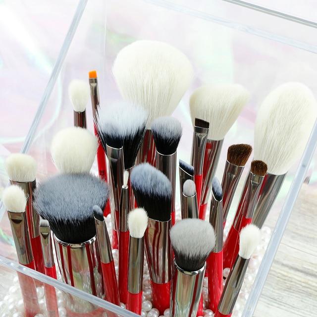 BEILI Red Professional Natural Hair Makeup Brushes Set Powder Foundation Blusher Eye Shadow Eyebrow Lip Eyeliner Contour 2