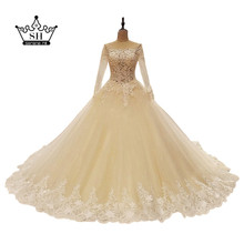 Gorgeous Off Shoulder Long Sleeve Low Back Wedding Dresses 2017 New Arrival Sheer Beaded Ball Gown Bridal Gowns Robe De Mariage