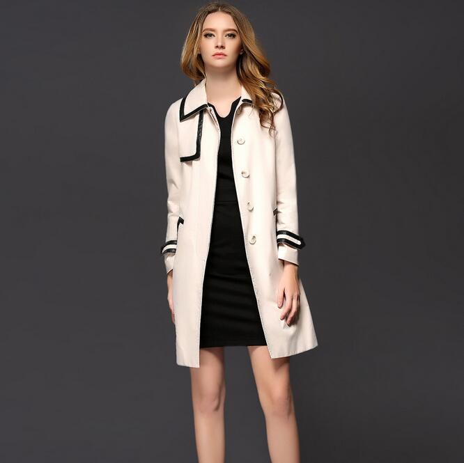 Windbreaker Women Long Trench Coat For women Lapel Collar Loose Stitching Dust Coat British Designer Trench