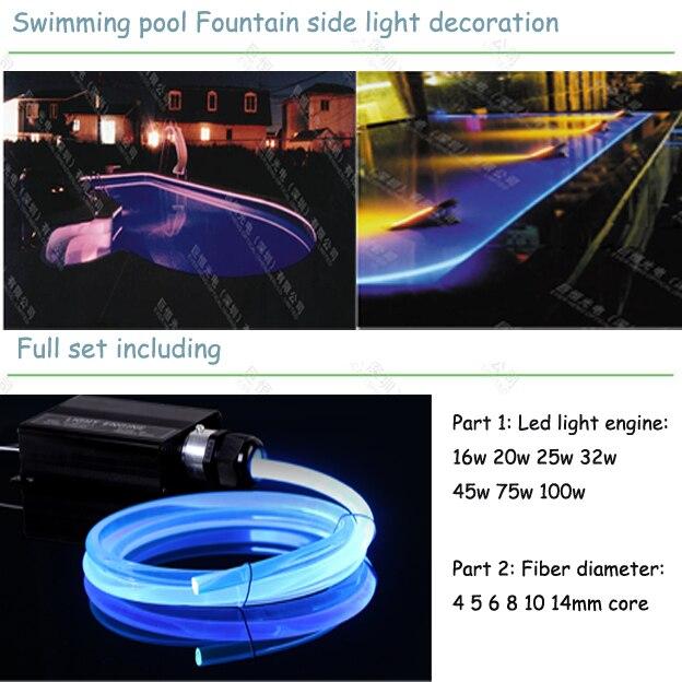 Подводная наружная боковая светящаяся волоконно оптическая лампа для бассейна