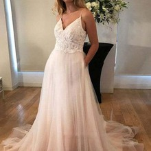 2f0a6f9372d Fairy A Line V Neck Open Back Ivory Tulle Lace Long Wedding Dresses  Spaghetti Straps Beach