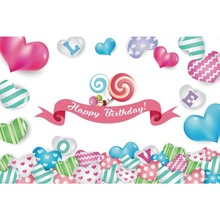 Laeacco Happy Birthday Candy Heart Love Baby Shower Cartoon Stage Scene Photo Backdrops Photography Backgrounds For Studio