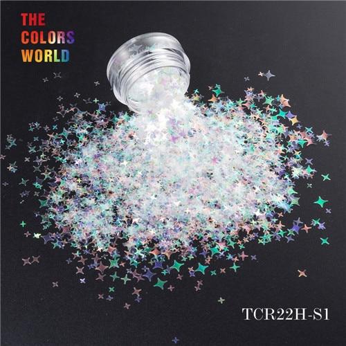 TCT-132, 12 цветов, четыре угла, форма звезд, блестки для ногтей, блестки для украшения ногтей, макияж, боди-арт, сделай сам - Цвет: TCR22H-S1  200g