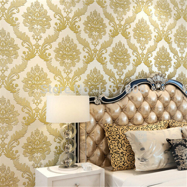 mop water 2015 new 3D Flocking DAMASK Wallpaper Floral Wall Paper ...