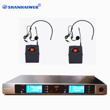 Original 2 channels UHF 100 channels optional Infrared paring waist hanging headset Hands Free wireless microphone mixer system(China)