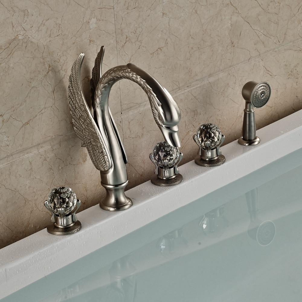 Nickel Brushed Finished Deck Mounted Bathroom Tub Faucet 3 Crystal Handles With Brass Hand Shower