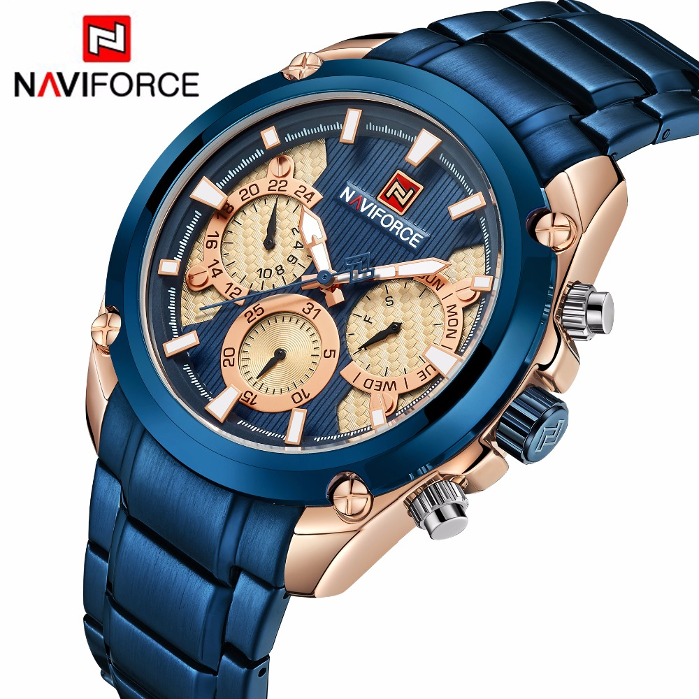 Top Brand <font><b>NAVIFORCE</b></font> Luxury Blue Gold Watches Men Fashion Sport Quartz Watches Full Steel Waterproof Watch Relogio Masculino <font><b>9113</b></font> image