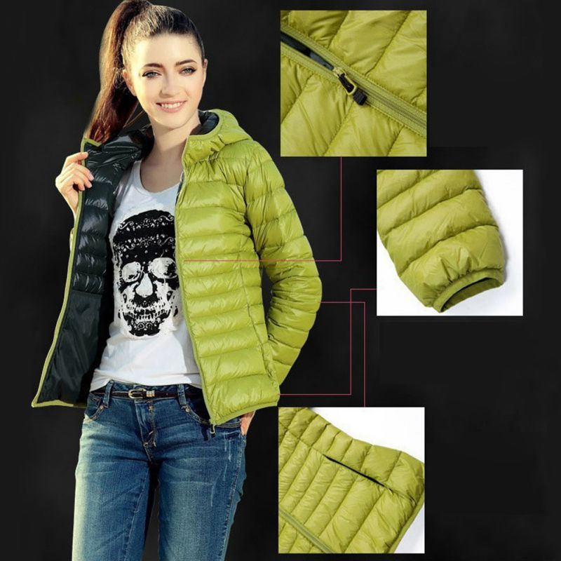 Winter Women Light Down Jacket Hooded Jackets Long Sleeve Warm Coat   Parka   Female Solid Color Thin Section Cotton Jacket