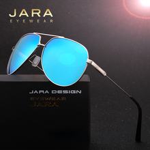 JARA Fashion Men Driving UV400 Polarized Sunglasses Women Pilot Style Shield Metal Eyewear Mirror Coating HD Sun Glasses A331