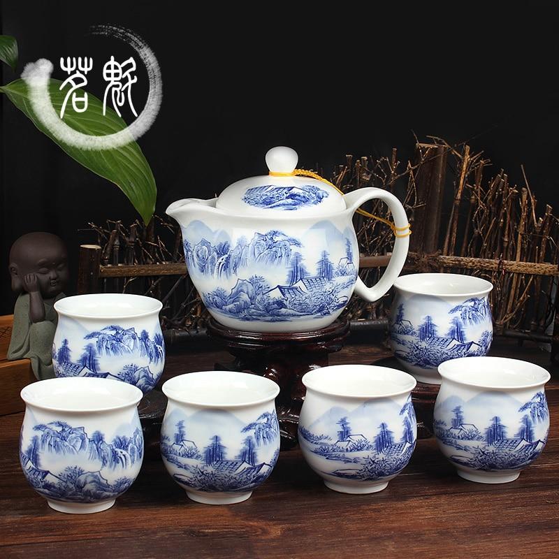 Ensemble de thé en céramique, théière et thé KungFu en porcelaine bleue et blanche