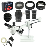 3.5X 7X 45X 90X Double Boom Stand Simul Focal trinocular Microscope Stereo +21MP HDMI camera Microscope +144 Led ring lights