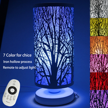 buy Modern Ivory Iron Wrought Tree Table Lamp Remote Control E27 110V 220V LED Bedroom Night Light Christmas Home Decorative Lights,image LED lamps offers