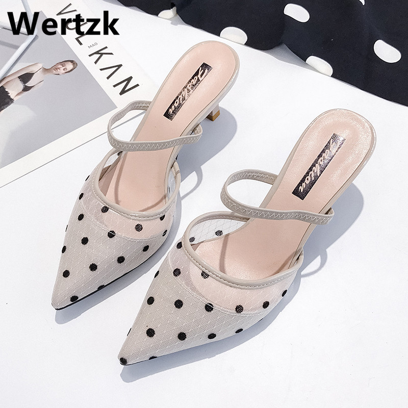 2019 New Polka Dot High Heel Women Sandals Pointed Toe Lace Mules Sandals Shoes Vintage Geometry Heel Women Sandals E4852019 New Polka Dot High Heel Women Sandals Pointed Toe Lace Mules Sandals Shoes Vintage Geometry Heel Women Sandals E485
