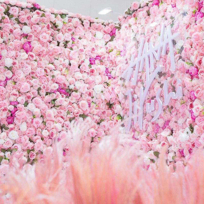 Yumai 40*60 cm Roses pétale artificielle fleur bloc mariage toile de fond tenture murale décoration pivoine tête tuile Rose fleurs panneau