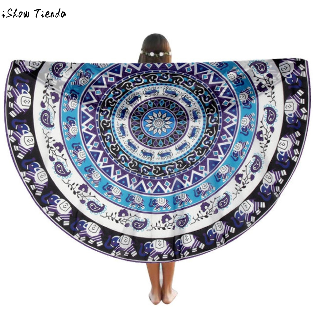 Drop Shipping Swim Cover Up Big Round Beach Pool Home Shower Towel Blanket Table Cloth Yoga Mat Beach Towels Tuniek Beach