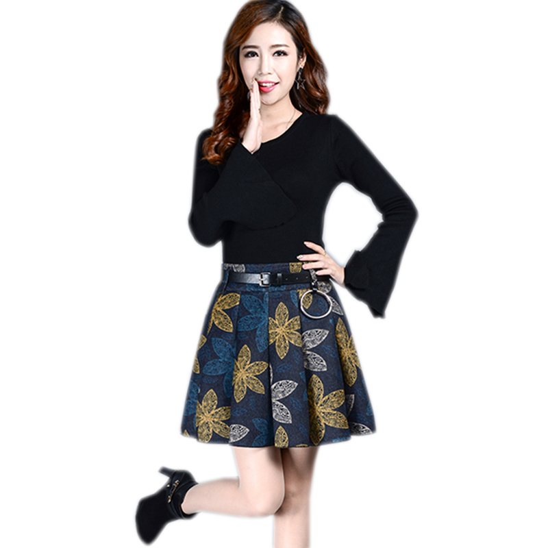 Women printing A-Line Skirt Pleated British Style Woolen Plaid Skirts Kilt Winter Vintage Wool Tartan Umbrella Plaid SkirtsYM146