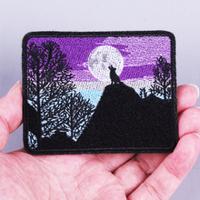 Pulaqi Punk Embroidery Diy Wolf Patches Ironing Stickers Patch Biker Stalker Stripe Backpack Icons Jeans Stripes Clothes Patch H patch design zip embellished biker jeans