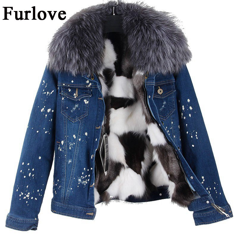 Winter Jeans Jacket Women Denim Short Jackets Raccoon Fur Collar Female Parka Real Fox Fur Lining Casual Coat Thick Warm Parkas 2017 winter new clothes to overcome the coat of women in the long reed rabbit hair fur fur coat fox raccoon fur collar