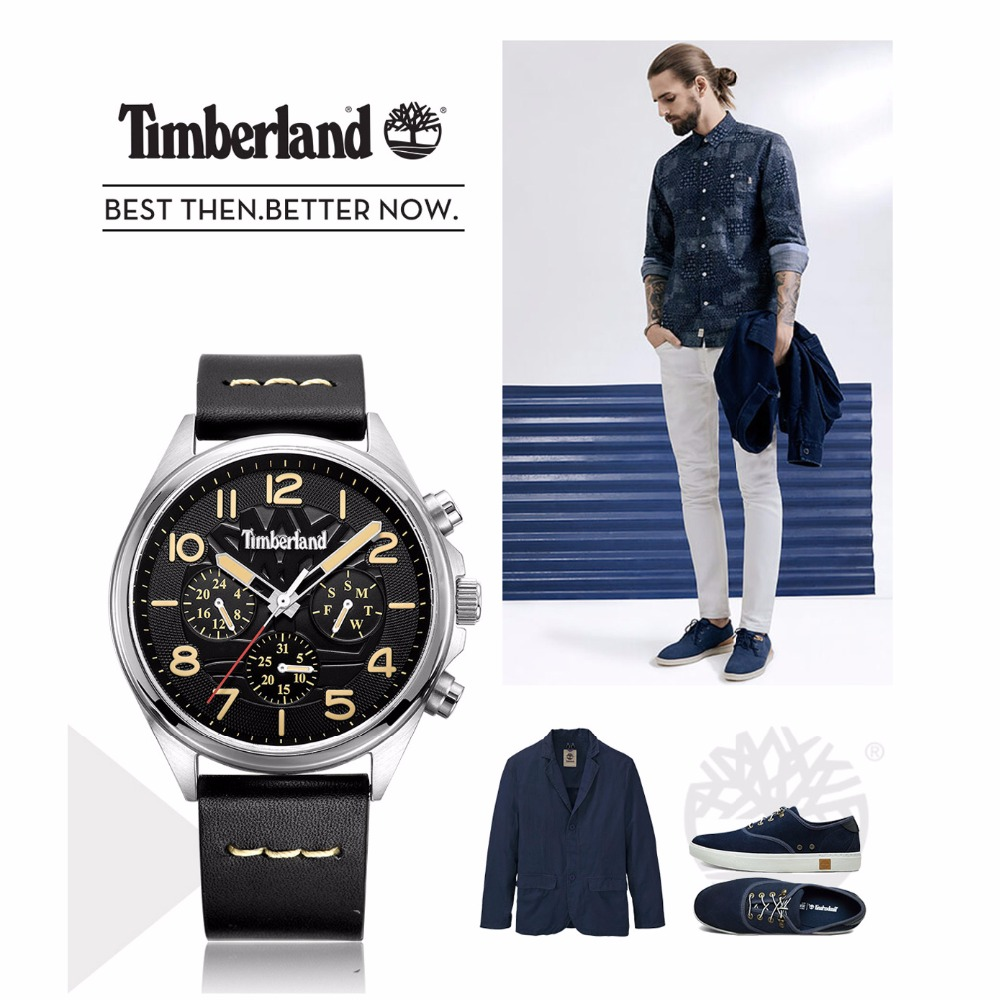 Timberland Mens Watches Leather Multifunction Display Calendar Casual Quartz Waterproof Men Watch T14844