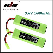 2x Eleoption 9.6V 1600mAh 8 Cell Stick Flat Ni-MH Battery Pack for Airsoft gun with Mini Tamiya connector plug
