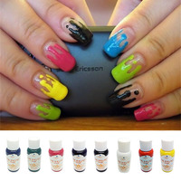 30ml Airbrush Nail Art Ink Nail Pigment Set for Hand Stencils Painting Color Spray Gun Nail Accessories 8 Colors