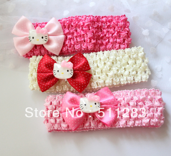 Free Shipping Cute Hello Kitty Baby Hair Band Baby Headbands 6pcs