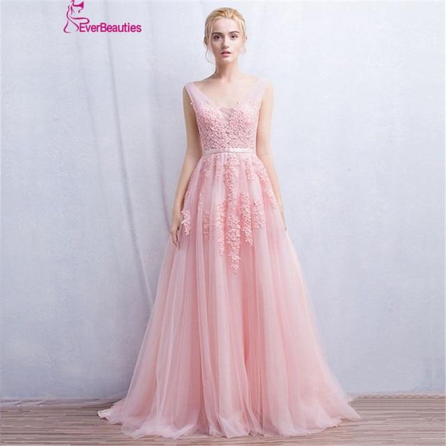 فستان سهرة Vestidos de festa رداء De Soiree رقبة V مع دانتيل زينة طويلة تول فساتين سهرة 2020 وردي كحلي