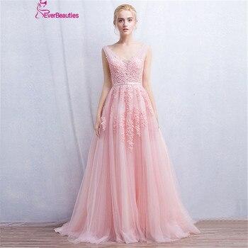 Robe De Soirée Vestido de festa New Vindo Decote Em V com Lace Apliques Longo Partido Tulle Vestidos De Noite 2017 Rosa Azul Marinho cinza