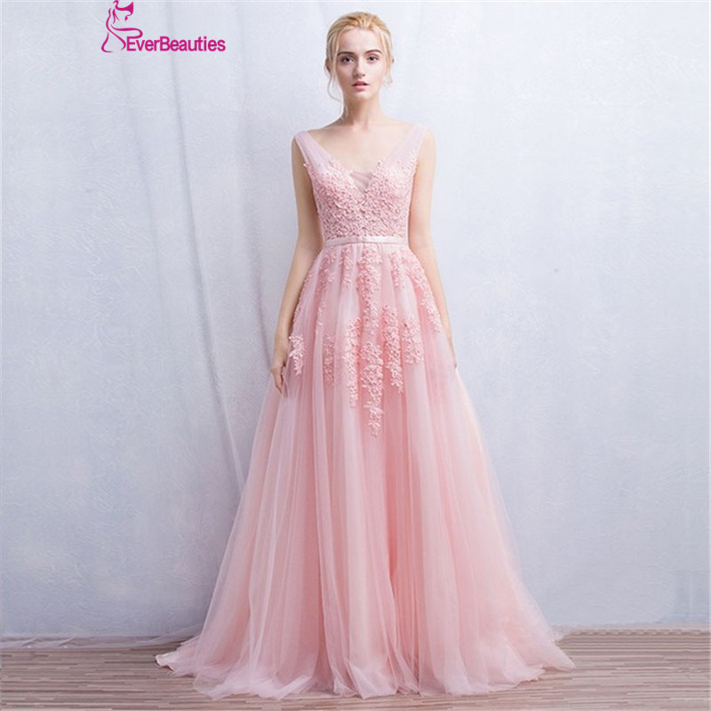 Vestidos de festa   Evening     Dress   Robe De Soiree V Neck with Lace Appliques Long Tulle Party   Evening     Dresses   2019 Pink Navy Blue