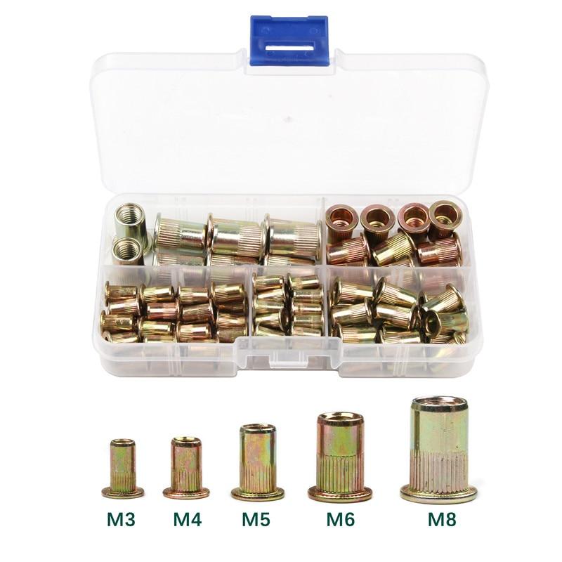 100PCS/set M3 M4 M5 M6 M8 Carbon Steel Rivet Nuts   Insert Rivets Multi Size Flat Head Rivet Nuts Set