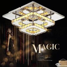 LAIMAIK Crystal LED Ceiling lights Fixture for Indoor Lamp lamparas de techo Surface Mounting Modern Ceiling Lamp For Bedroom surface mount led ceiling lights for living room bedroom indoor home fixture square wooden ceiling lamp de techo plafond abajur