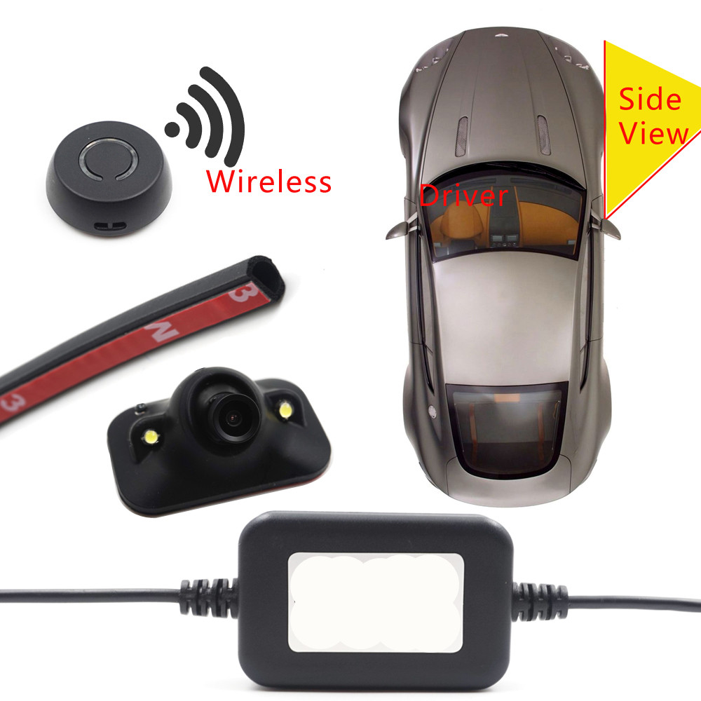 car wireless button control Diy install blind spot detecion side view camera parking monitor DVD detection