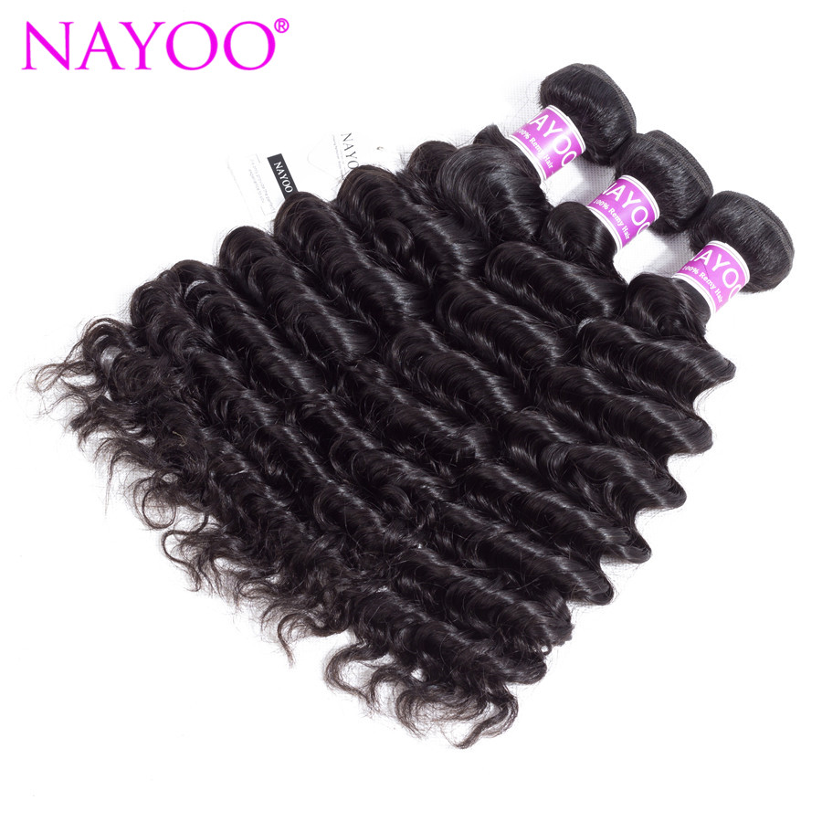 NAYOO Hair Deep Wave 3pcs/lot Hair Weave Bundles 100% Mongolian Human Hair Bundles 8-26inch Natural Color Remy Hair Extensions