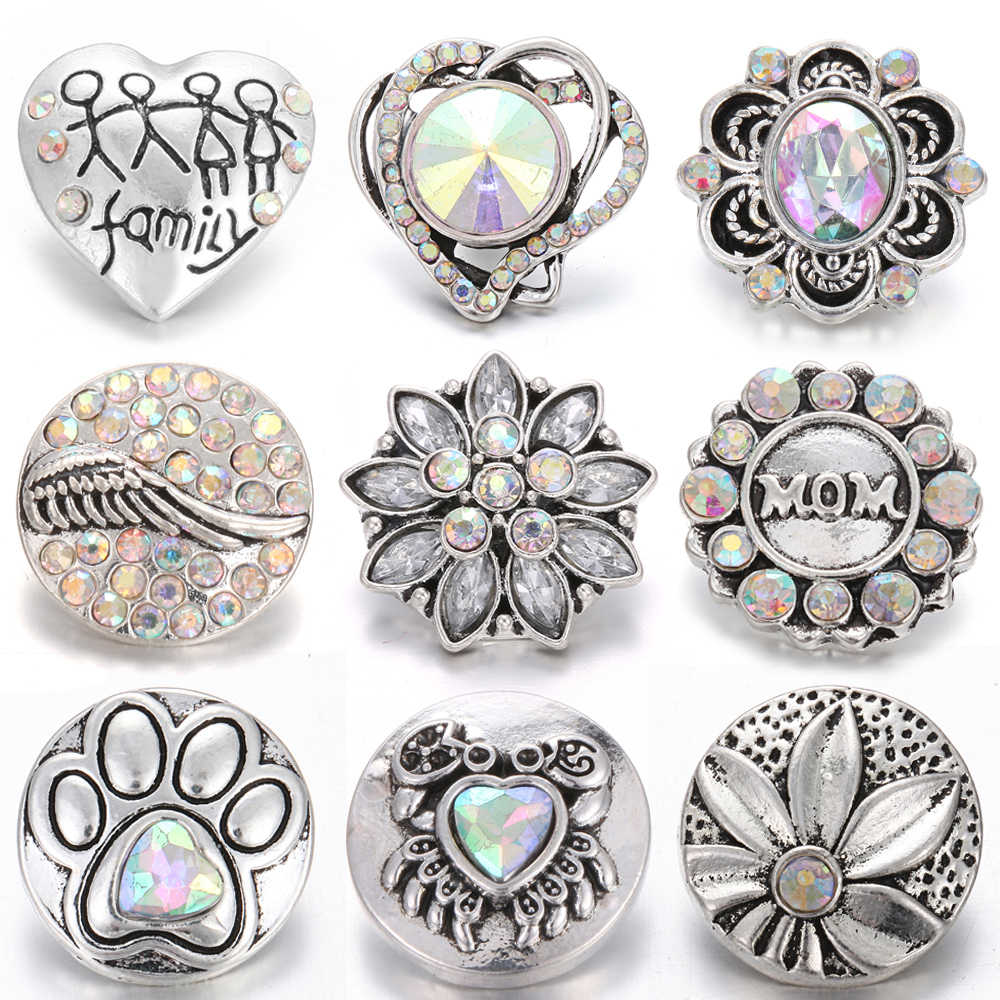 10pcs/lot New Snaps Jewelry 18mm Metal Rhinestone Snap Button Jewelry Flower Colorful Buttons Fit 18mm Snap Bracelet DIY Charms