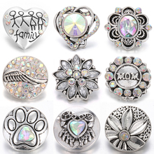 10pcs/lot New Snaps Jewelry 18mm Metal Rhinestone Snap Button Flower Colorful Buttons Fit Bracelet DIY Charms