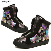 AREEQW Winter New Snow Boots Women Black Flowers Martin Boots Warm Suede Women Boots 2017 New