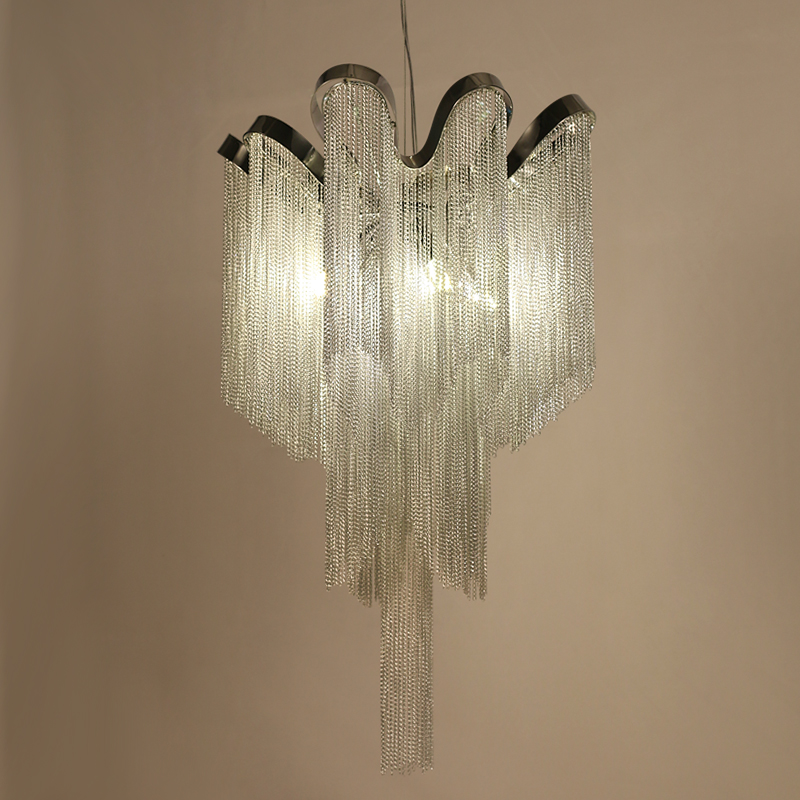 Image 2 - Modern Silver Tassel Aluminum Chain Chandelier  for Living Dining room home deco-in Chandeliers from Lights & Lighting