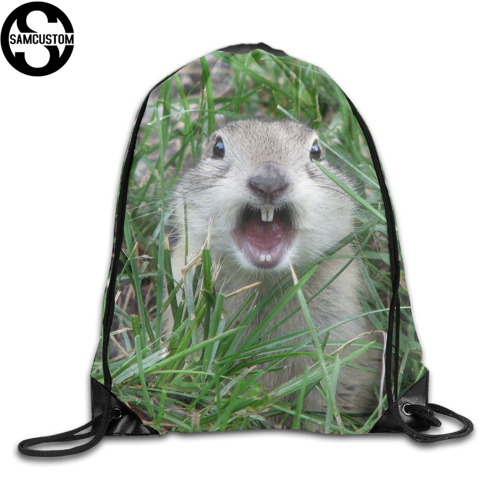 Samcustom Cute Prairie Dog 3d Print Shoulders Bag Fabric Backpack Men And Women Port Drawstring Travel Shoes Dust Storage Bags