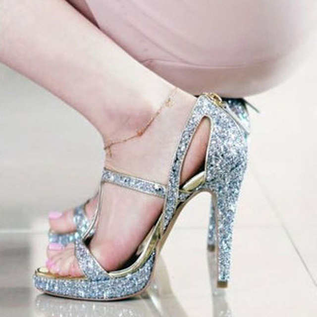 Sexy Ladies Bling Sequins Strappy Acrossed Sandals Women Cover High Heels  Bridal Sandals Summer Glitter Wedding Dress Shoes 385e23be803f