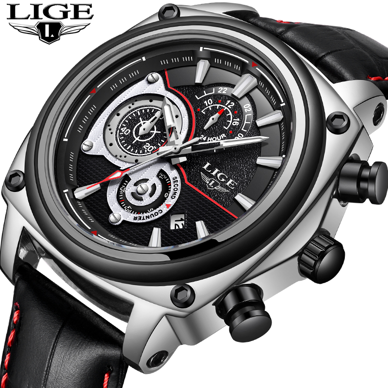 LIGE Men Watches Fashion Chronograph Leather Quartz Watch Men Calendar Military Waterproof Sport Wrist Watch Relogio Masculino oulm military digital dual time watch men leather strap chronograph calendar alarm waterproof led electronic wrist watches 2018