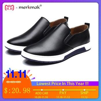 Merkmak Inverno botas De Couro Dos Homens Mocassins Sapatos Da Moda Sapatos de Algodão Quente botas de Marca no tornozelo ata acima Sapatas dos homens calçado frete grátis