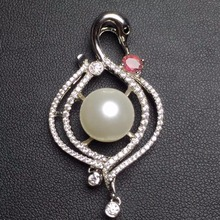 Fine Jewelry real 925 silver sterling 100%  natural fresh water pearl brooches brooch for women fine pearl pendant neckalces