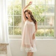 Doce sólido modal algodão branco rendas deslizamento camisas de noite para as mulheres verão feminino lingerie sexy macio princesa do vintage sleepwear