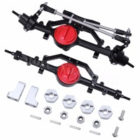 Aluminum Alloy Front And Rear Axle Complete Set CNC Machined for RC4WD D90 Yota II RC Rock Crawler Car Replacement Red /Black