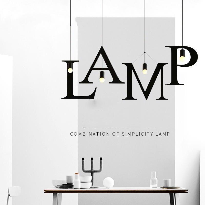 Industrial Letter Lamp Black LED Pendant Light Indoor Loft Vintage Nordic Modern Creative Restaurant Bar Home lighting Art Decor